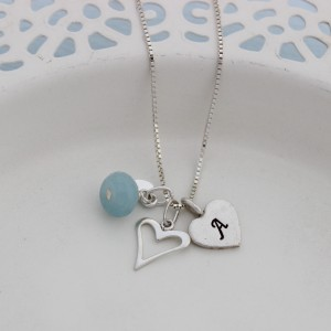 childs personalised mini silver open heart necklace with aquamarine (2)