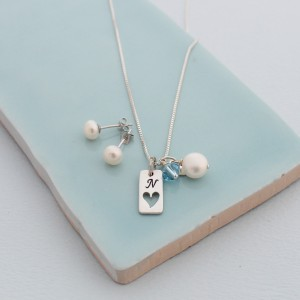 personalised tag necklace with aqua crystal and 6mm pearl studs (2)