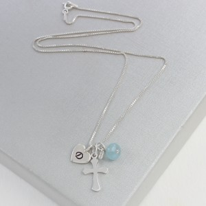 silver cross necklace with aquamarine for march (2)