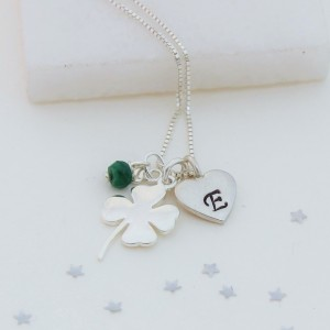 good luck 4 leaf clover with may birthstones (3)