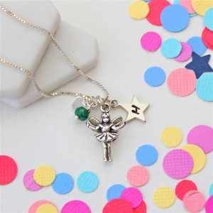 silver fairy necklace with emerald birthstone and star charm (2)