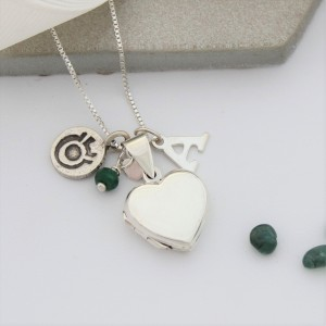 silver heart locket with emerald for amy and initial charm (4)
