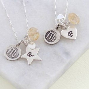 personalised-zodiac-disc-and-birthstone-charm-necklace