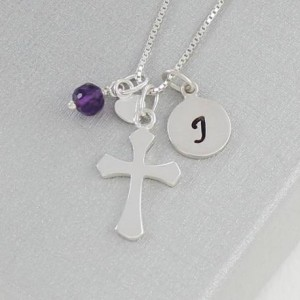 personalised-silver-cross-necklace-with-birthstone-charm