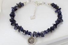 Sapphire Blue Gemstone bracelet with virgo zodiac charm