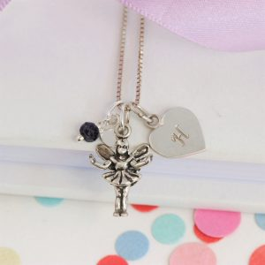 Personalised Silver Fairy Charm Necklace with September Birthstone