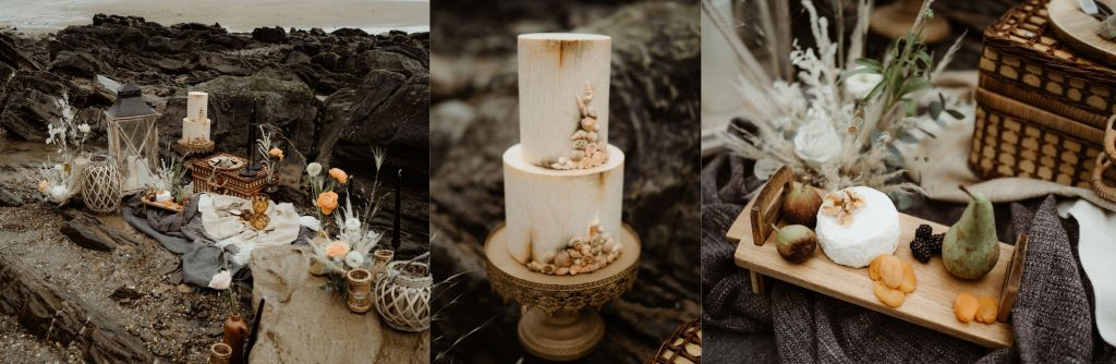 ideas for a rustic boho beach wedding. find inspiration for cake, assessories, stationery, catering and flowers