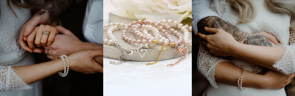 new wedding jewellery designs from Bish Bosh Becca. Handmade white pearl charm bracelet in silver, rose gold or gold