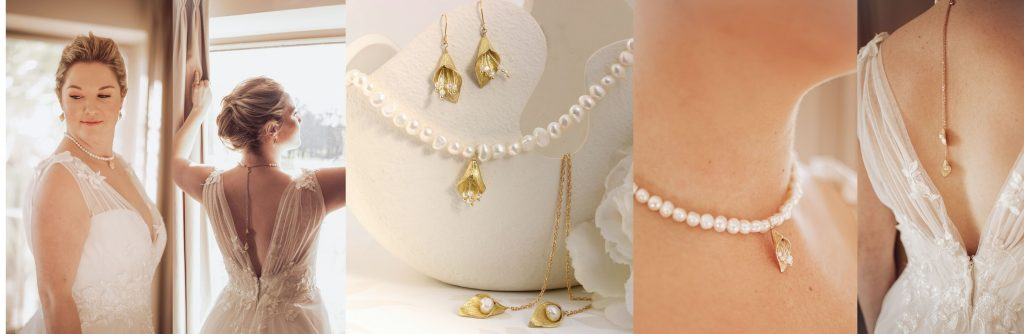 pearl wedding choker with gold cala lily backdrop and matching drop earrings