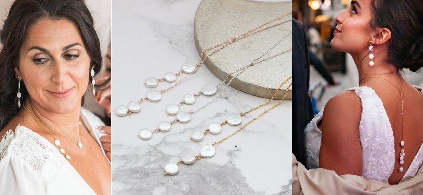how to wear a versatile chain and pearl lariat necklace by Bish Bosh Becca